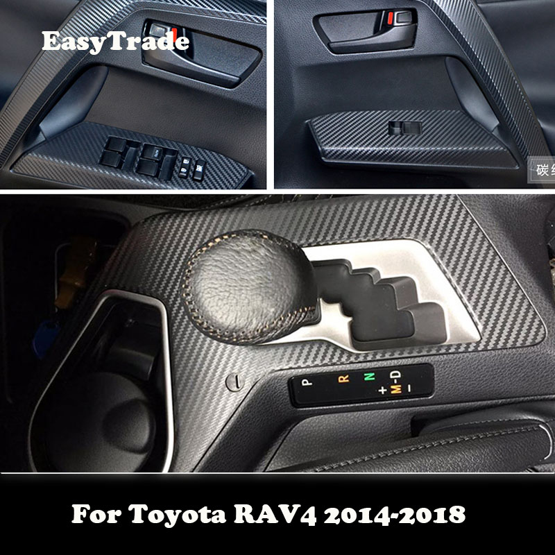 For <font><b>Toyota</b></font> <font><b>RAV4</b></font> 2014 2015 2016 2017 <font><b>2018</b></font> <font><b>Accessories</b></font> Car Sticker Carbon Fiber Colour Pattern Interior Sticker Set Decal Trim image