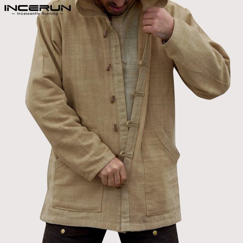 INCERUN Men Vintage Cotton Hoodies Hooded Pockets Button Casual Outerwear Long Sleeve Men Sweatshirts Streetwear S-5XL 2020
