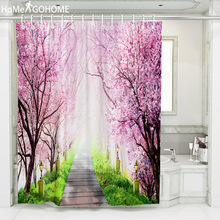 Peach Blossom Flowers Park Boho Curtains Waterproof Shower Curtains Bathroom Curtain Mildewproof Bath Curtain Natural Scenery flowers blossom waterproof bath curtain