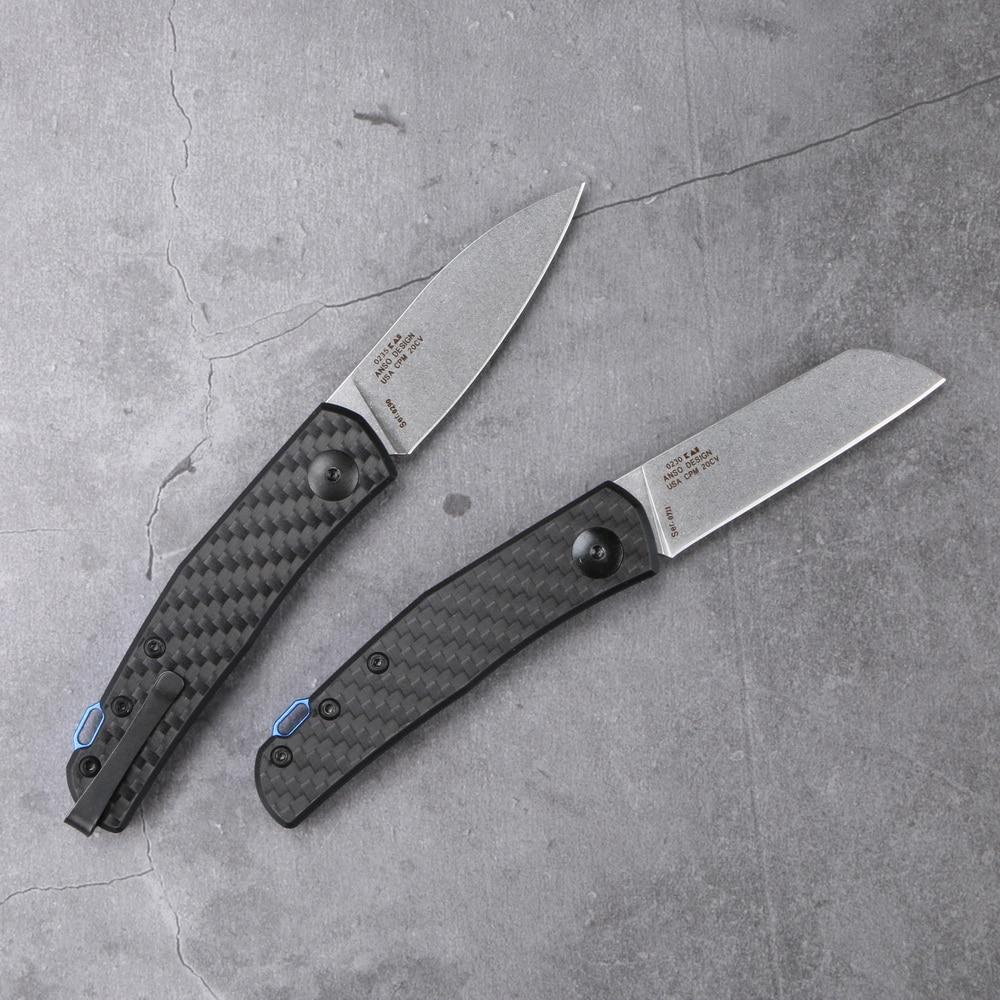 Camp Pocket Lovocoo Fibre Knife Outdoor 0235 EDC 20CV Survival Carbon Hunt Tool Folding Anso Mark Kitchen 0230 Handle Slip Joint