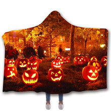 Halloween Hooded Blanket For Adults Childs 3D Printed Sherpa Fleece Portable Warm Throw Home Travel Picnic
