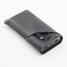 QB823 Doppel schicht Universal Filet holster Telefon Gerade leder fall retro für ZMI Lila MI power Bank 10 Pro 20000mA beutel
