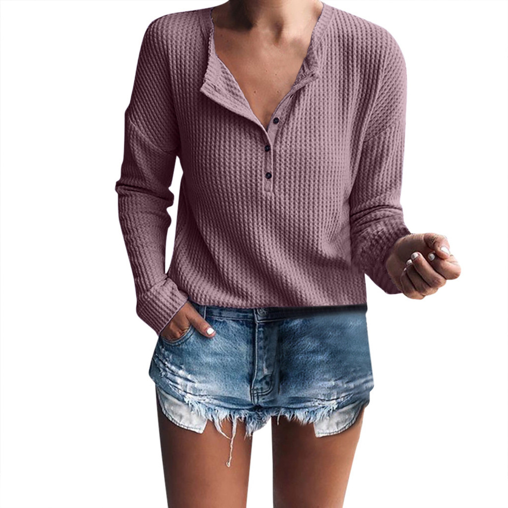Women's Tops Casual Long Sleeve Shirt Rib Knit Blouse Button decoration V-neck Solid color Simple Female Winter long Sleeve Tops
