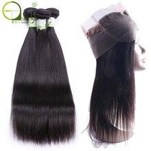 360 кружевные прямые бразильские прямые волосы без повреждений с пучком, пряди ди человеческих волос с застежкой