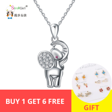 New Necklaces Authentic 925 Silver Cute Elephant Necklace Pendant Trendy Girl Jewelry Charms CZ Animal for Women Chokers