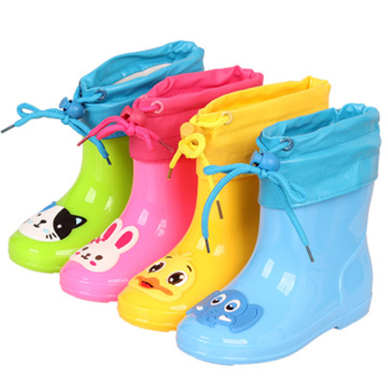 Children Waterproof Rain Boots Cartoon Plush Warm Kids Cotton Boots Boys Girls Shoes Baby Toddler Ankle Boots 06A
