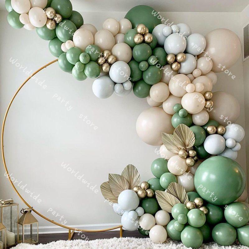ラテックス風船花輪バルーンアーチキットレトログリーンマットスキンセットdiyの結婚式のパーティーバレンタインデーの装飾ベビーシャワーの好意装飾
