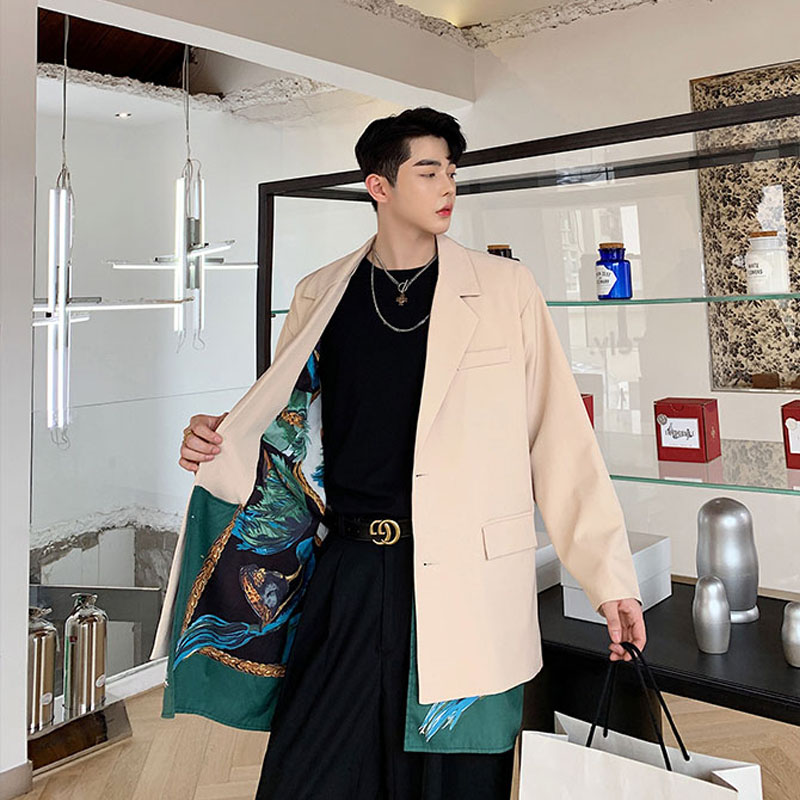 Men Inside And Outside 2 Styles Wear Casual Suit Blazer Jacket Male Vintage Fashion Streetwear Hip Hop Suit Coat Outerwear