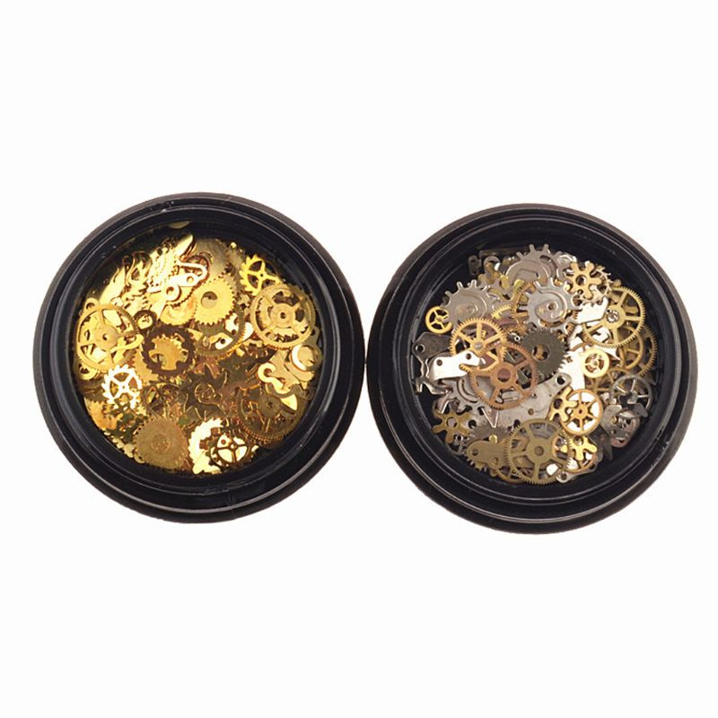 2 Box Mini Mixed Steampunk Cogs Gear Clock Charm UV Frame Resin Jewelry Fillings