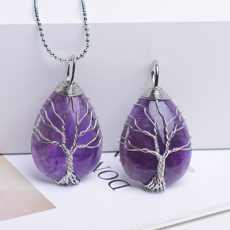 1pc Natural Crystal Rose Quartz Tree of Life Pendant Reiki Healing Specimen Mineral Jewelry Fashion Charm Ladies DIY Gifts Souve-2