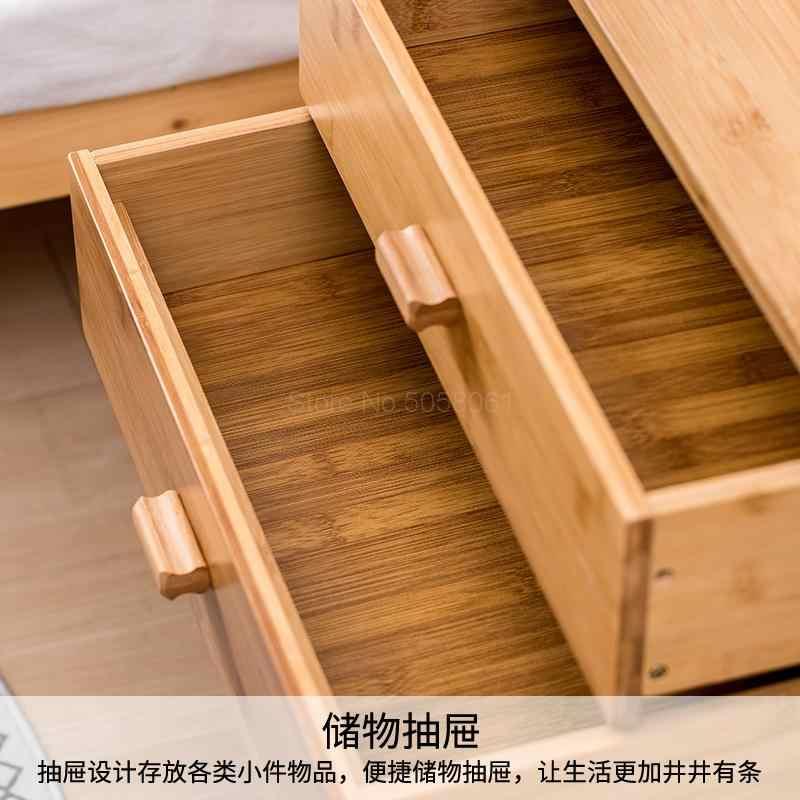 Bambu başucu masa basit mini yatak yan küçük dolap kilitli saklama dolabı çıkarılabilir raf