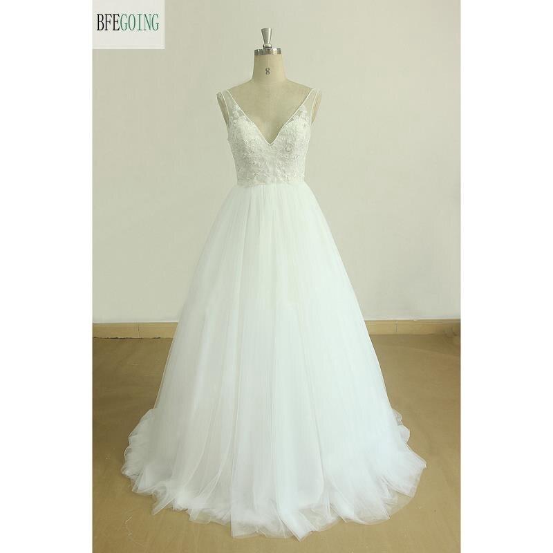 White Tulle Lace Beading V-Neck Floor-Length Backless A-line Wedding Dress Chapel Train Custom Made