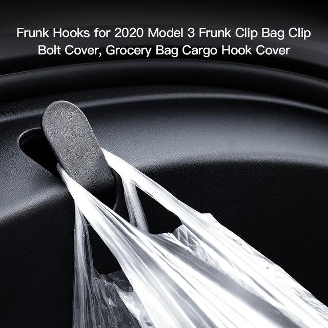 YZ 2Pcs for Tesla Model 3 Front Trunk Bag Hooks for Tesla Model3 Frunk Hooks Clip Bag Cargo Hook for Tesla Model 3 Accessories 4