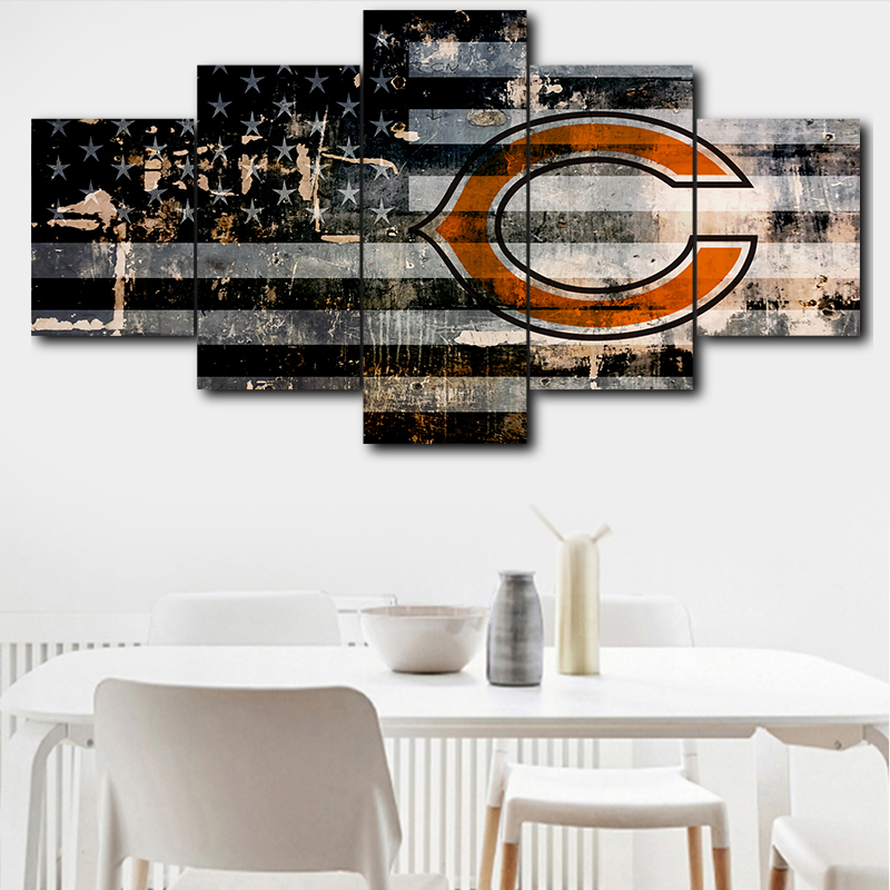 Wall Art Canvas Painting Print 5 Pieces Modular Picture Chicago Bears Sports <font><b>Logo</b></font> <font><b>Poster</b></font> Room Home Decor image