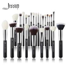 Jessup maquiagem escovas conjunto preto/prata profissional com fundação de cabelo natural pó sombra compõem escova blush 6 pces 25 pces