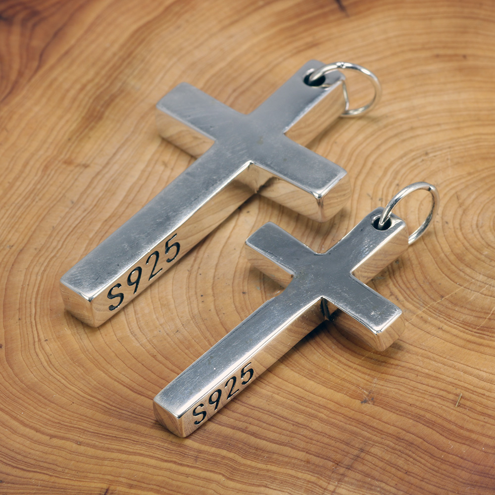 Real Solid 925 Sterling Silver Cross Pendant For Men And Women Smooth High Polishing Simple Design Jesus Christ Jewelry