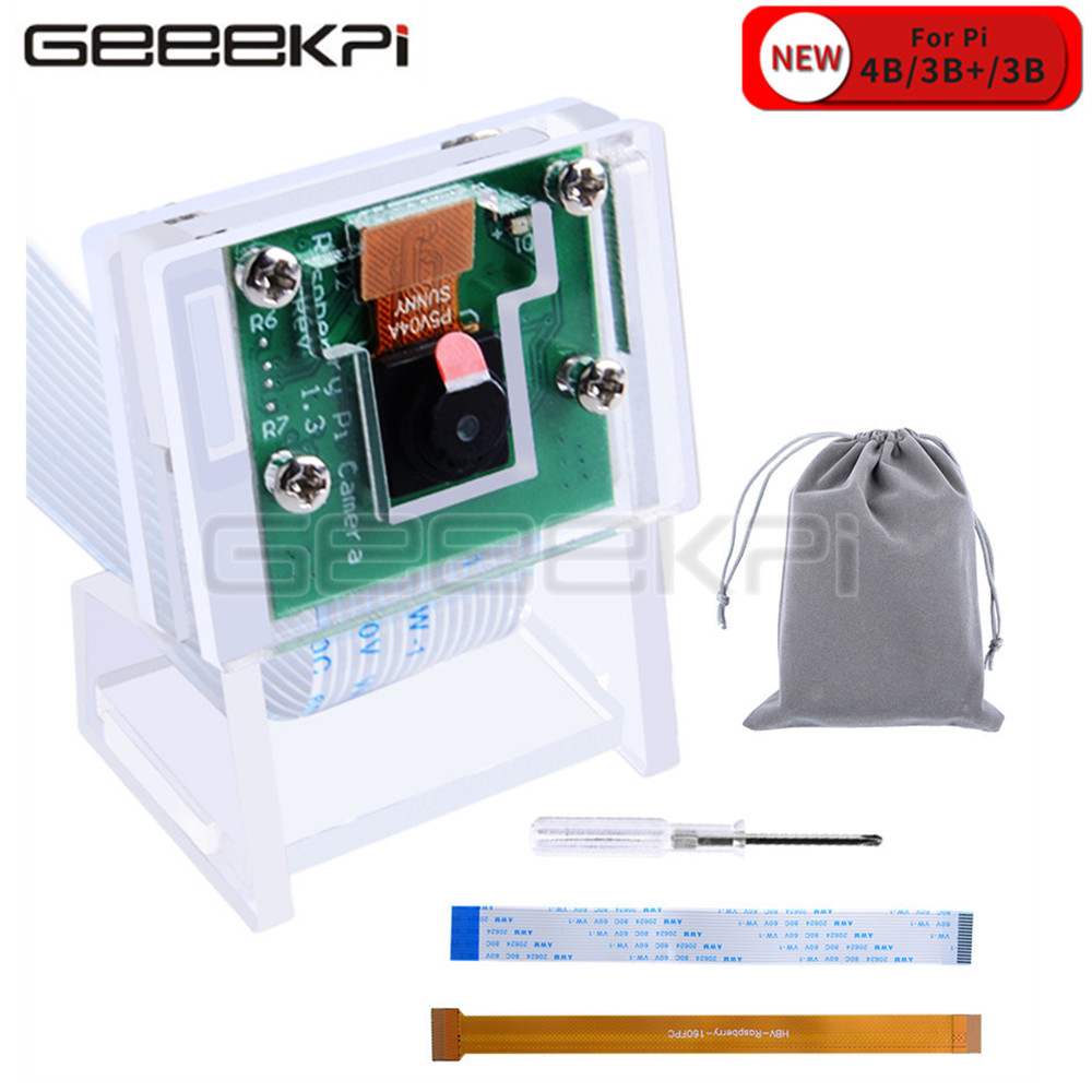 GeeekPi Raspberry Pi 5MP Camera Module Board With Acrylic Holder Bracket Webcam Video For Raspberry Pi 4 Model B / Zero (W) / 3