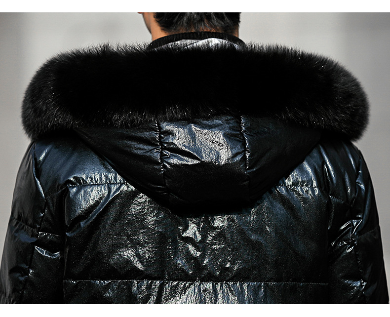 Hooded Fox Fur Collar Duck Down Coat