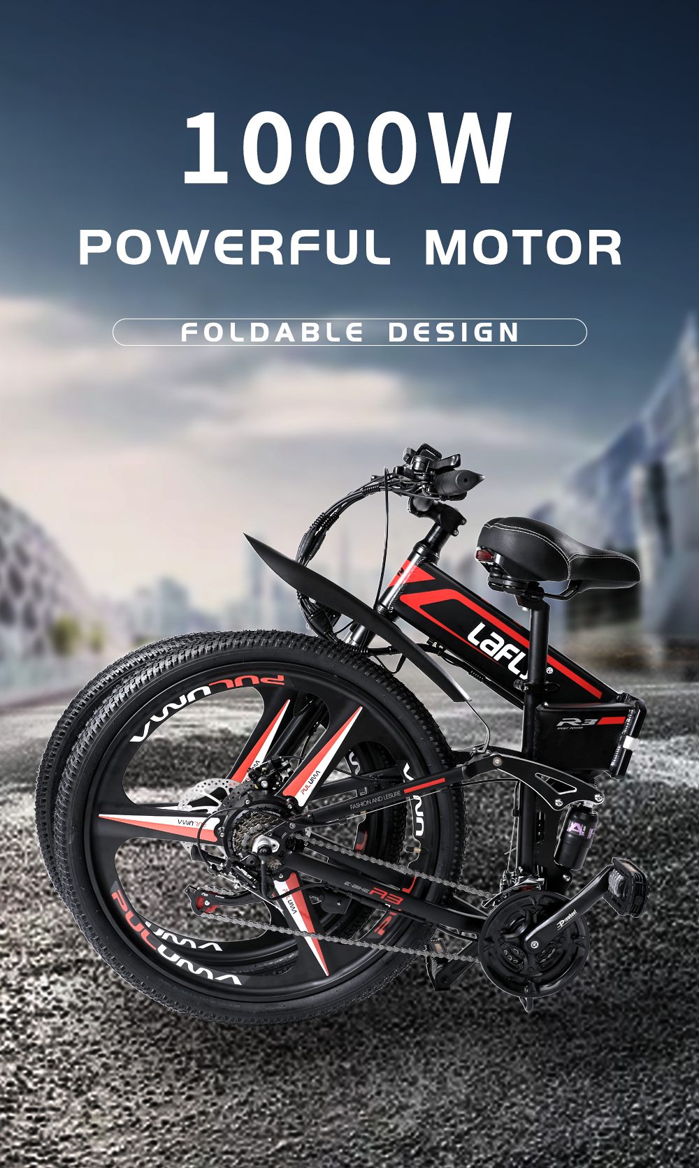 Duty free LAFLY X3 26inch electric mountain bicycle 48V1000W high speed motor Lightweight frame hidden lithium battery ebike 4