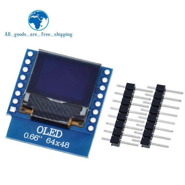 "TZT 0.66 inch OLED Display Module for WEMOS D1 MINI ESP32 Module Arduino AVR STM32 64x48 0.66"" LCD Screen IIC I2C OLED"