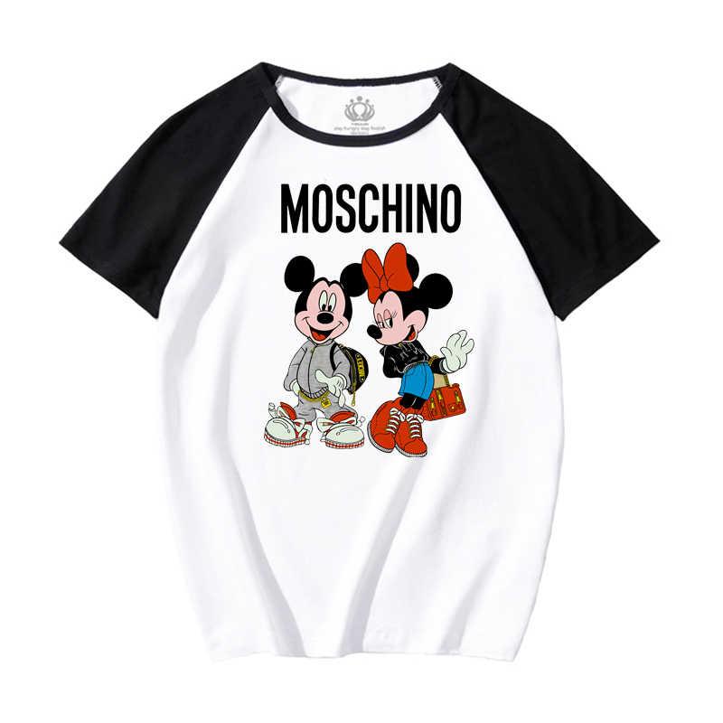 Camiseta solta de desenho mickey mouse, camiseta feminina versão coreana