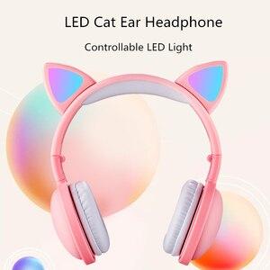 Image 2 - הגעה חדשה LED חתול אוזן אוזניות חכם רעש ביטול Bluetooth 5.0 אוזניות מבוגרים וילדים אוזניות עם מיקרופון 3.5mm תקע