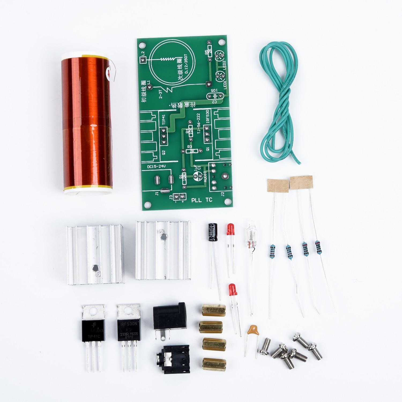 Mini Tesla Coil Plasma Speaker Electronic Kit 15W DIY Kits W/ Stainless Ball New DC15-24V 3.5mm DIY Tesla Coil Kit