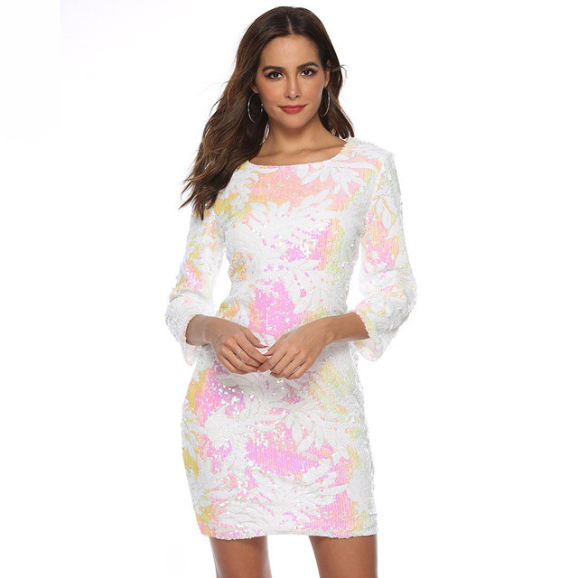 Fashion Round Neck Print Dress  Beach Sexy Short Dresses Long Sleeve Bodycon Office Dress European And American Party Dress 4