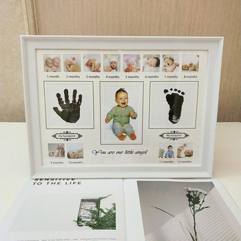 Baby Photo Frame DIY Handprint Footprint Makers Ink Imprint Picture Birthday Gift for Baby Wall Picture Frame Home Decorations 10pcs diy photo frame wooden clip paper picture holder wall decoration for wedding baby shower birthday party photo booth props