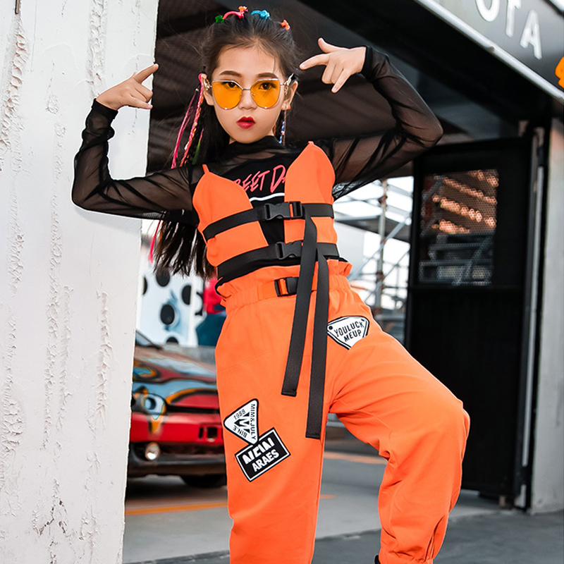 Girls Jazz Dance Costume Kids Hip Hop Suit Child Street Dance Performance Stage Clothing Girls Long Sleeve Tide Clothes DQL2913