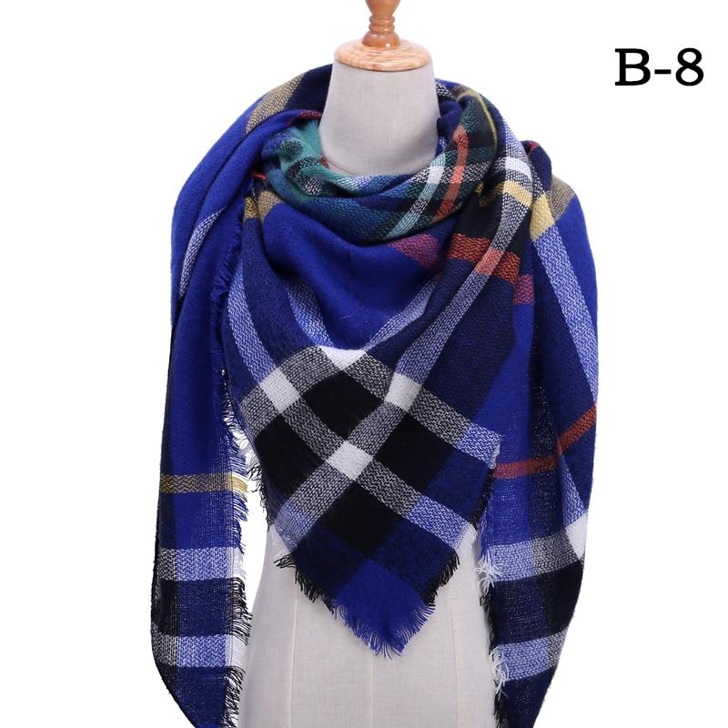 Женский зимний шарф в ретро стиле, кашемировые вязаные пашмины шали, женские мягкие треугольные шарфы, бандана, теплое одеяло, новинка - Цвет: bb8