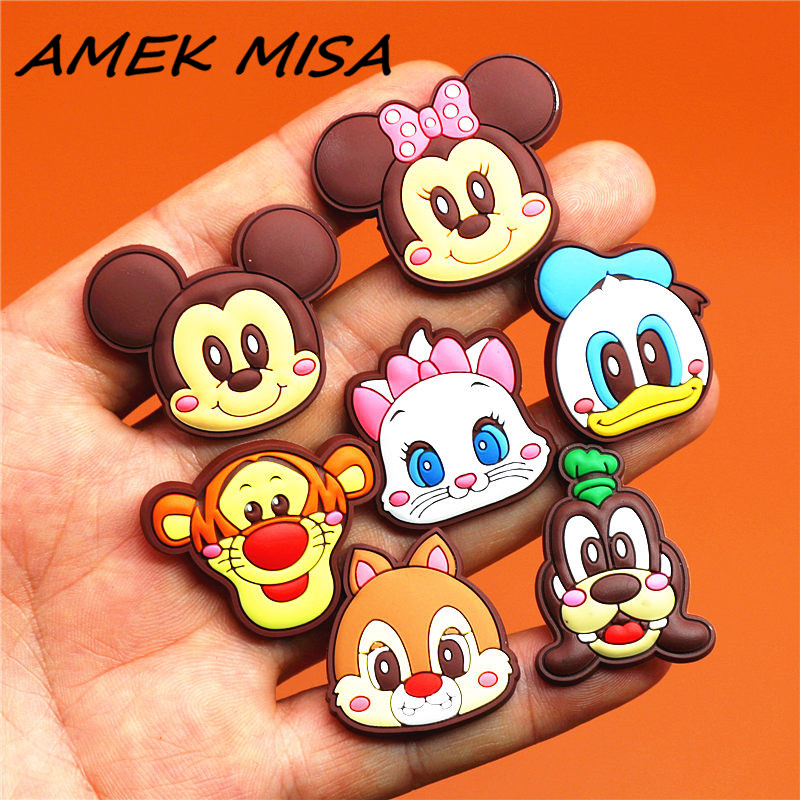 15pcs/Set PVC Cartoon Mickey Shoe Charms Accessories Shoe Buckle Decorations Shoe Ormaments Fit Croc JIBZ Party Kid's Gifts U84