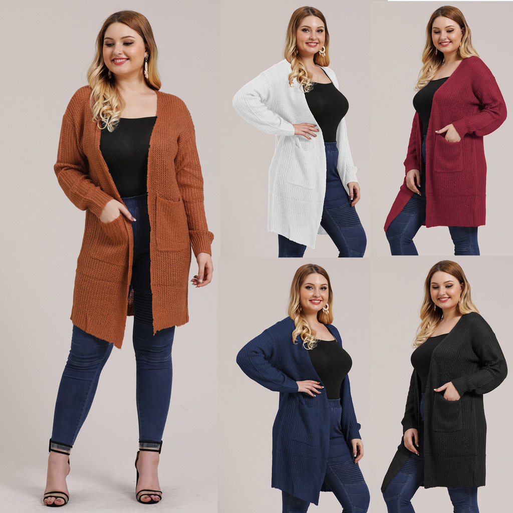 Fashion Women jacket Plus Size Knitting Open Cape Casual Coat Blouse Kimono Outwear Cardigan Solid Sweater Cardigan