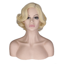 QQXCAIW ผู้หญิงสั้น Curly Cosplay วิกผม Cos Marilyn Monroe หญิงปาร์ตี้สูงเส้นใยสังเคราะห์เส้นใยสังเคราะห์เส้นใยสังเคราะห์วิกผม