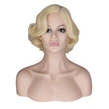 Qqxcaiw 여자 여자 짧은 금발 곱슬 코스프레 가발 cos 마릴린 먼로 여성 파티 고온 섬유 합성 머리 가발
