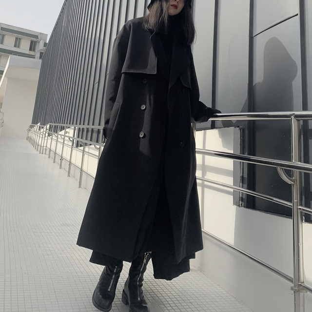 [EAM] Women Long Cotton-paded Big Size Trench New Lapel Long Sleeve Loose Fit Windbreaker Fashion Spring Autumn 2021 19A-a702 3