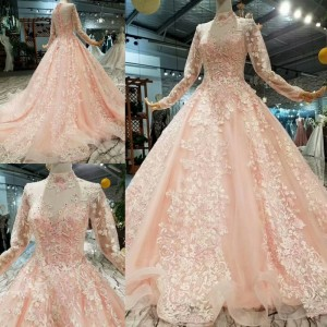 Image 4 - LS324749 light color girls pageant party dresses long tulle sleeves high neck  brush train beauty autumn long evening dresses