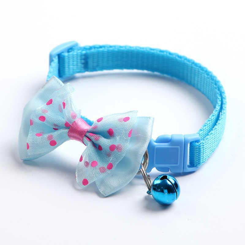 新しい調整可能なかわいいネクタイ犬猫首輪ナイロンベル子猫キャンディーカラー蝶ネクタイちょう Likesome 首輪
