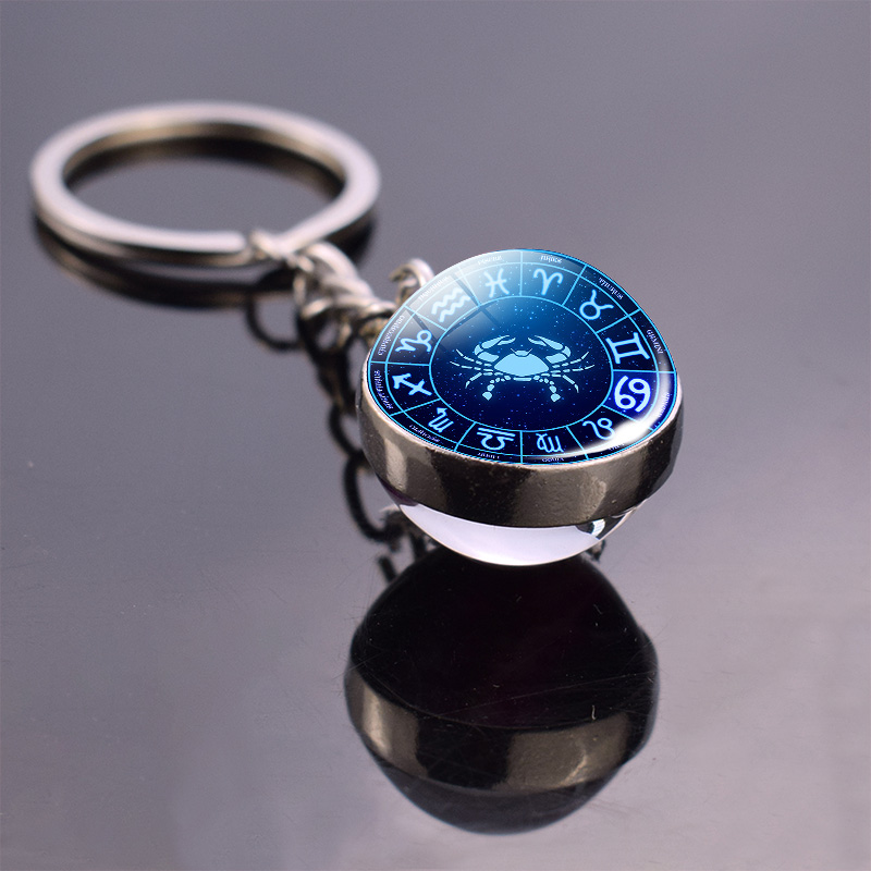 New Arrivals 12 Constellation Jewelry Zodiac Keychain Crystal Glass Ball Pendant Keyring Car Accessories Couple Christmas Gifts