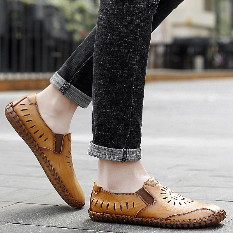 men genuine leather casual loafers Summer flats slip-on breathable handmade sewing moccasins autumn punching fashion drive shoes 5