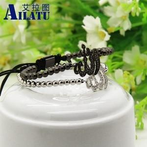 Image 5 - Ailatu hurtownia muzułmańska religijna bransoletka makrama Micro Pave wyczyść Cz mosiądz moda męska biżuteria