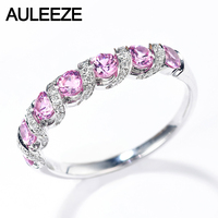 AULEEZE 18K White Gold Natural Pink Sapphire Ring Real Diamond Gemstone Anniversary Band Office Lady Ring