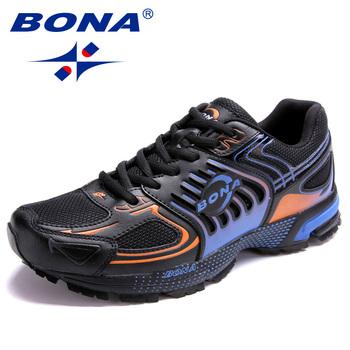 BONA 2020 nowi projektanci popularny styl obuwie obuwie męskie odkryte obuwie męskie siatkowe trampki buty męskie rekreacyjne buty modne tanie i dobre opinie Mesh (air mesh) Przypadkowi buty RUBBER Lace-up Pasuje prawda na wymiar weź swój normalny rozmiar Podstawowe Wiosna jesień