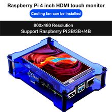 4 Inch Touchscreen Display with Case, Cooling Fan, Raspberry Pi 4'' Touch Screen IPS LCD 800x480 HDMI Monitor for RPI 4B 3B+