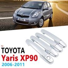 Conjunto de guarnição para toyota yaris, cromado, com acabamento, para toyota yaris vitz xp90 2006 ~ 2011, adesivos para estilização de carro, 2007 2008 2009 2010