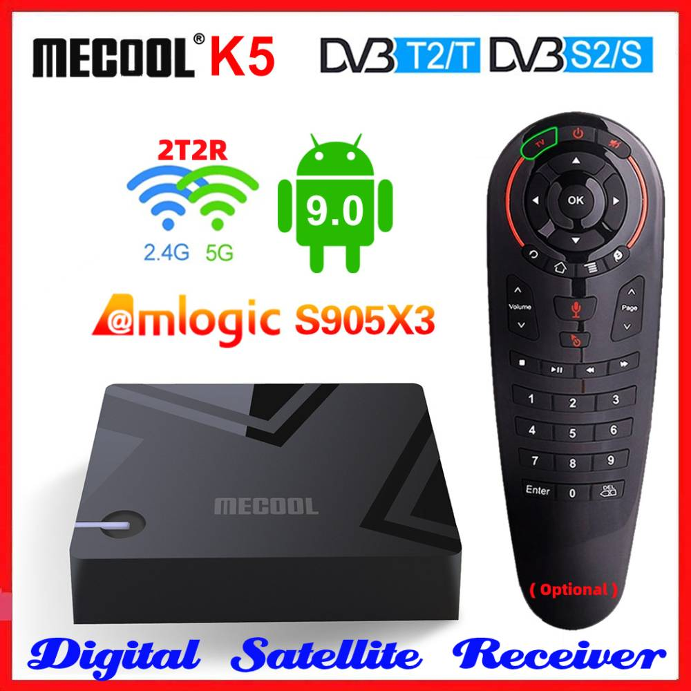 Mecool k5 amlogic s905x3 smart tv box android 9.0 quad core 4k media player receptor de satélite 2.4 & 5g 2t2r duplo wifi conjunto caixa superior