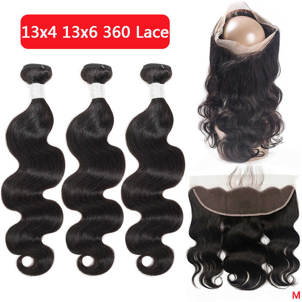 13x4 360 Body Wave Bundles With Frontal Brazilian Human Hair Weave Bundles With Closure Remy Lace Frontal With Bundles