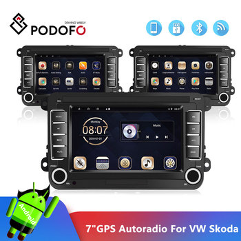 Podofo Car Multimedia 7'' Android Car Radio Audio GPS Navigation Bluetooth Autoradio MP5 Player FM Radio Mirror Link For VW image