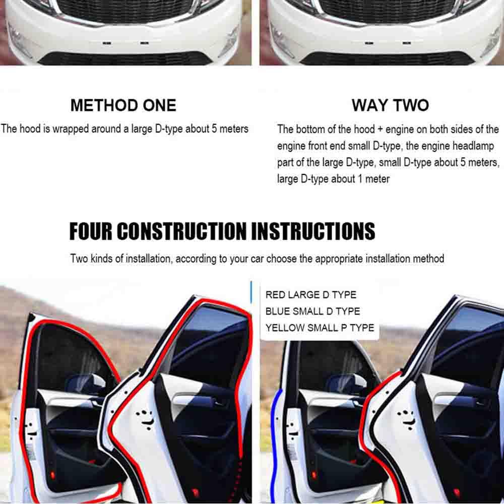 Big D-Shape 4M Car Door Edge Seal Weatherstrip Moulding Black Trim Rubber Strip