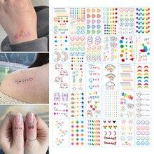 30pcstattoo adesivo rosto mão linda arte do corpo falso tatoo temporária à prova dtatágua taty hyuna ins série colorido arco-íris expressão